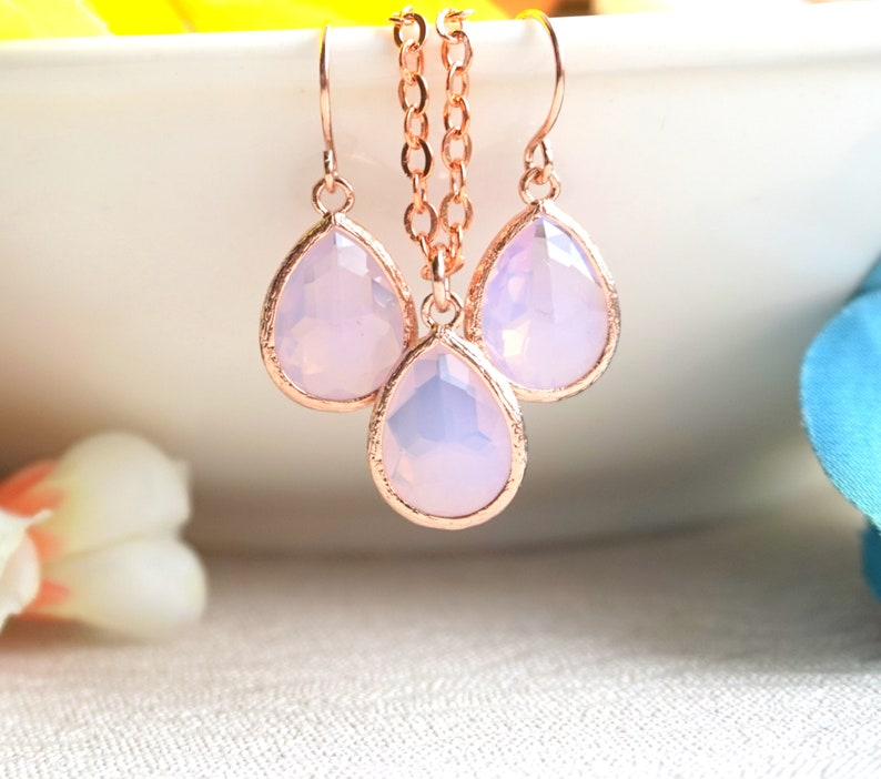 October Birthday Gift Opal Jewelry Rose gold jewelry Pink Opal Birthstone Crystal necklace /& earrings Gifts For Her Gift Mom Dainty Jewelry