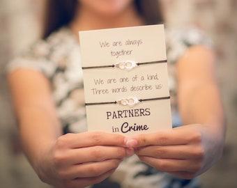 Partners in crime bracelet set, Friendship bracelet, Best friend gift, Hand cuff bracelet, Matching bracelet set, BFF bracelets