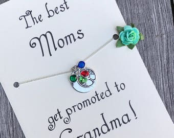 Nana necklace, Grandma necklace birthstone, Pregnancy announcement, Mother necklace, Grandmother necklace, Family tree necklace,  A64