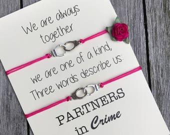 Partners in crime bracelet set, Friendship bracelet, Best friend gift, Gift for friend, friendship bracelet set, birthday gift, A40