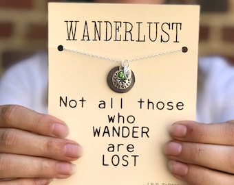 Wanderlust necklace, Compass necklace, Traveler gift ideas, Going away gift , Travel gifts, Wanderlust jewelry, Travel necklace