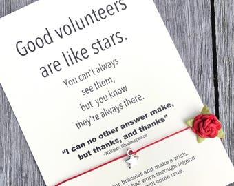Volunteer thank you, Gift for volunteer, Volunteer gifts, Volunteer appreciation, Friendship, Wish Bracelet, Appreciation gifts, A45
