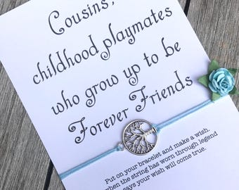 Cousin bracelet, Cousin jewelry, Cousin gift, Family reunion favors, Best cousins, Family reunion gift, Wish bracelet, Gift for cousin A12
