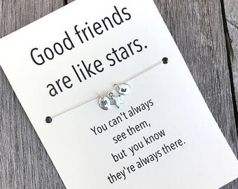 Friendship necklace, Bff necklace, Initial jewelry, Friendship jewelry, Best friend necklace, Best friend, Good friends are like stars, A5b