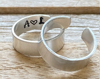 Custom Adjustable Ring, Matching Set of Two, Couples Ring, Cuff Ring, Engraved Ring, Monogram Initials, Personalized Ring, His and Hers