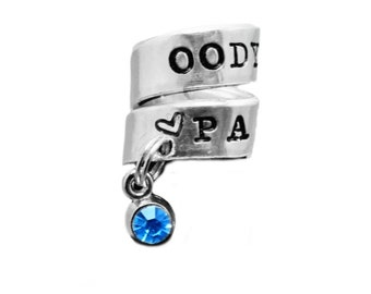 Personalized Stethoscope ID Tag with custom birthstone charm, Hand stamped Stethoscope Charm, Nurse Birthday Gift, RN Tag, RN gift