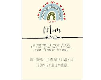 Christmas Friendship Bracelet for mom, Christmas Gift from daughter or son, Mother Gift, Mom Bracelet, Stocking Stuffer, Mom Christmas Card