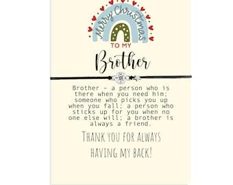 Christmas Friendship Bracelet for Brother, Christmas Gift from Sister, Bro Gift, Friendship Gift, Stocking Stuffer, Christmas Card