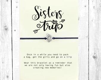 Friendship Bracelet with Sisters Trip card, Big Little Sorority, Girls Getaway, Girls Weekend Gift, Big Sister Little Sister, Best Friends