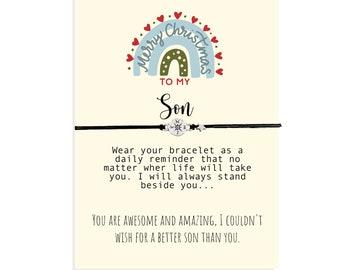 Christmas Friendship Bracelet for Son, Christmas Gift from Mother, Son Gift, Friendship Gift, Stocking Stuffer, Christmas Card