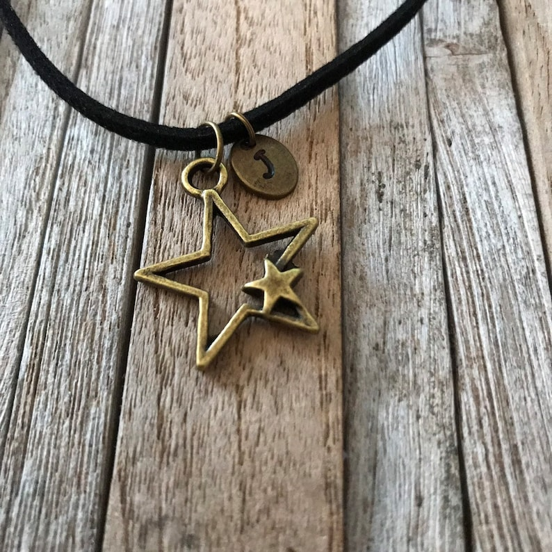 aabebf344bab0f Bronze star necklace Good friends are like stars Initial | Etsy