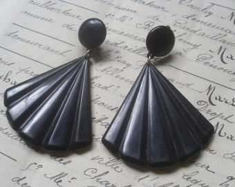A Large Pair of Vintage French 1980's Black Plastic Clip On Earrings.Fashion,Retro.