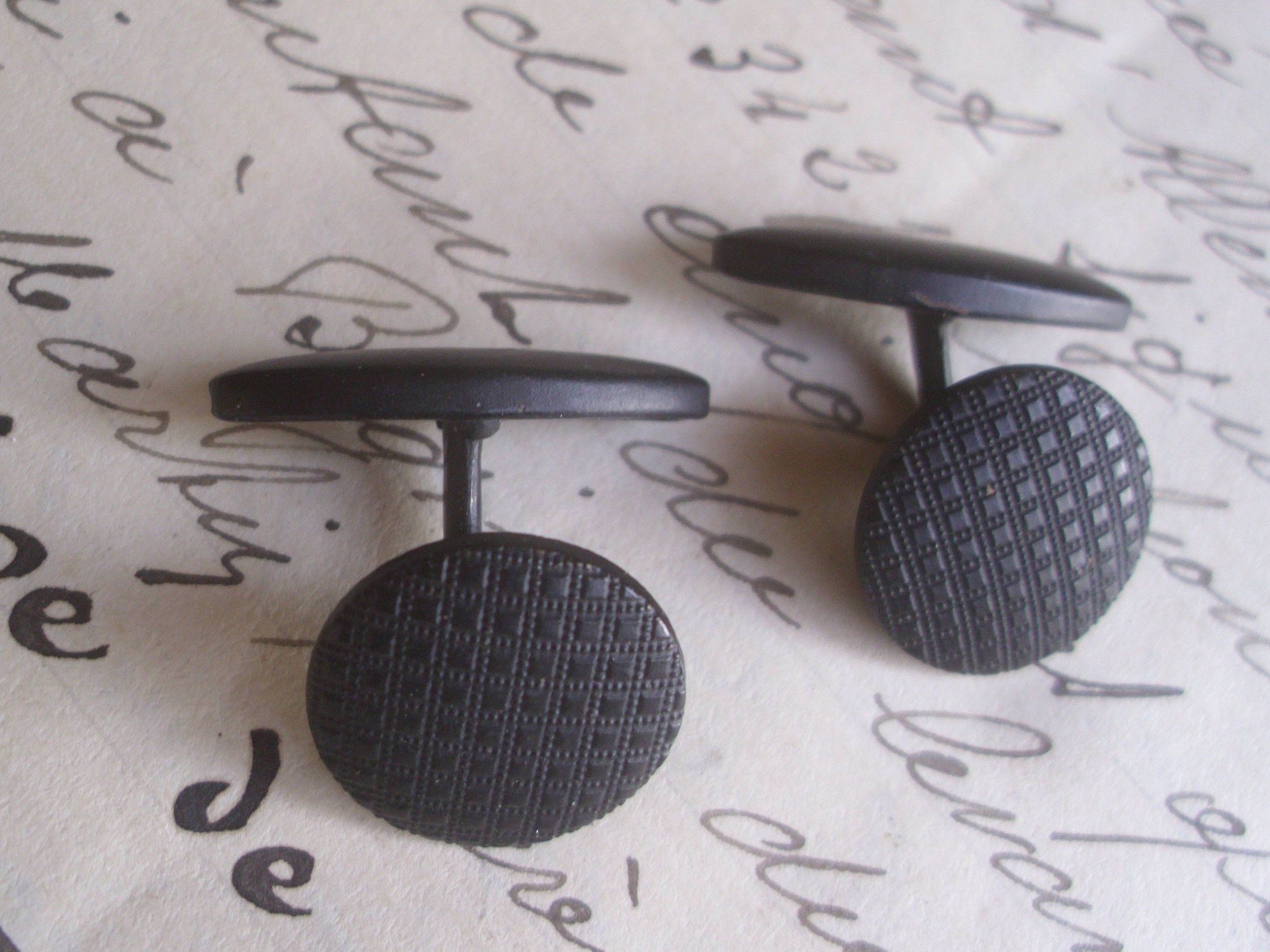 Fabulous Pair of Vintage French Black Metal 1950's Cufflinks