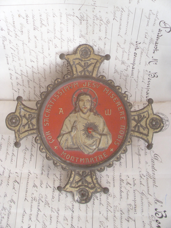 Antique French Metal Religious Jesus Sacred Heart Cross Etsy