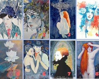 Mini-Series of prints, 5 prints of your choice, watercolors, house decoration, offer of the moment, surreal-dreamlike, decorative wall art.