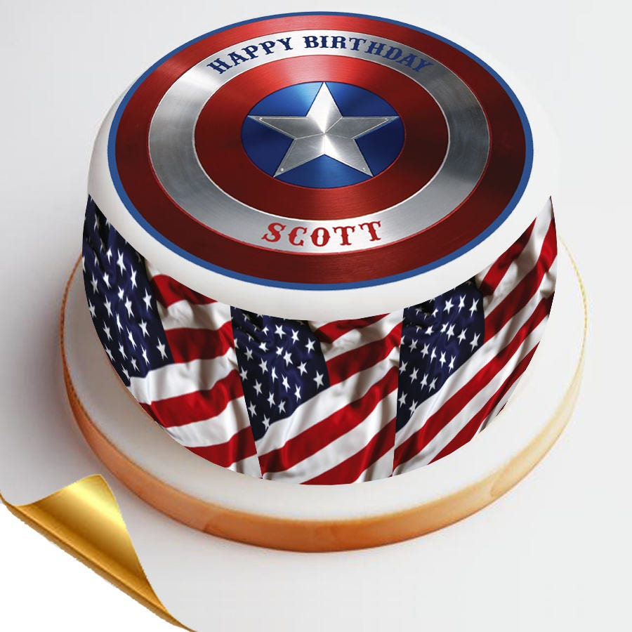 7.5' Diameter Icing Cake Topper Captain America | Etsy