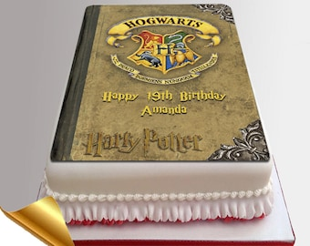 Icing Cake Topper - 11x7 inch Harry Potter Spell Book