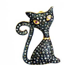 Micro Pave Diamond Cat Pendant Cat Charm Natural Ruby 925 Sterling Silver Yellow Gold Animal Jewelry Animal Charm Pendant Cat Pendant Charm