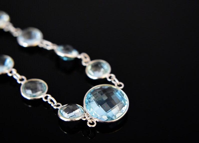 925 Sterling Silver Bracelet Blue Topaz Bracelet December Birthstone