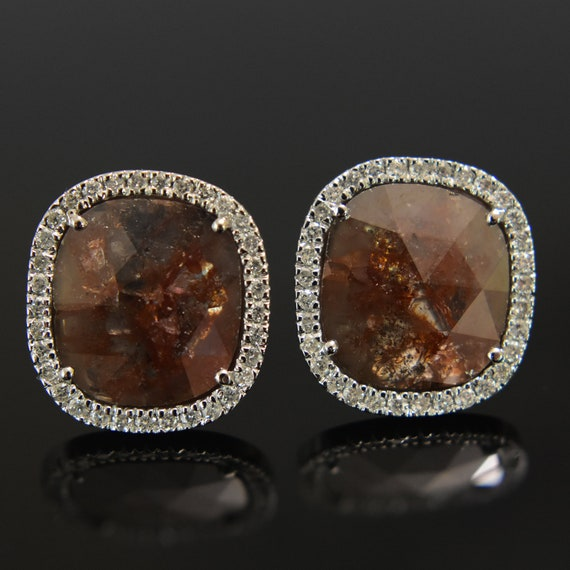 Diamond Stud Earrings Raw Diamond Studs Chocolate Brown Etsy