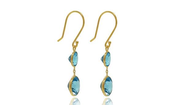 December Birthstone London Blue Topaz Gold Earrings Natural 5.5 cttw Gemstone 14K Yellow Gold Dangle Earrings