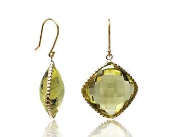 32 CTTW Lemon Quartz 14K Yellow Gold Hallmark Dangle Earrings Cushion Cut Natural Gemstone Birthstone Jewelry