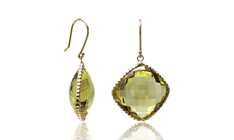 Gemstone 14k Yellow Gold Gemstone Earrings With Cognac Topaz And Black Onyx Fine Earrings