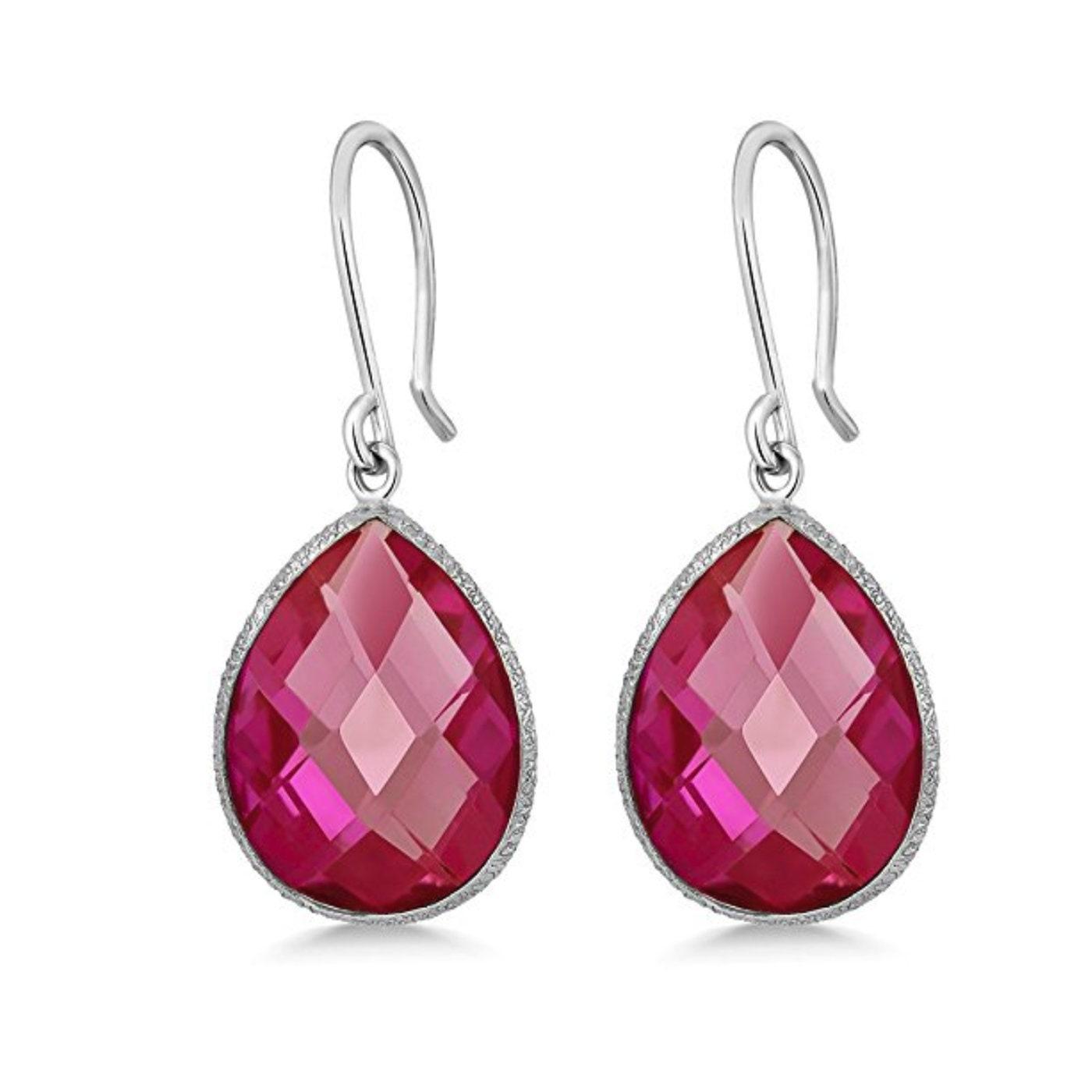 Pink Sapphire Silver Dangle Drop Earrings Oval Pink Dangle ...