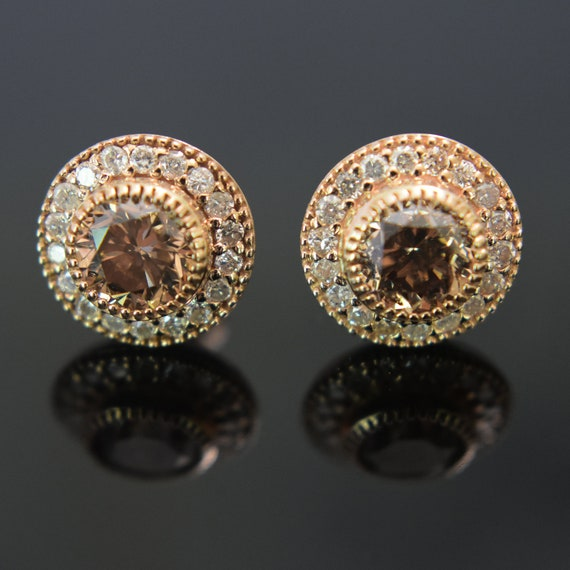Diamond Stud Earrings Halo Diamond Studs Si2 Fancy Brown Etsy