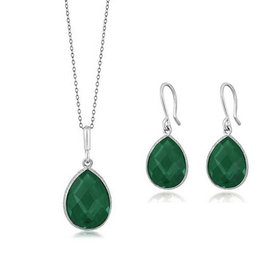 Jewellery Set 925 Silver Rare GREEN ONYX Earrings Pendant Decorative Brand New Accessories Trendy Bijoux Exclusive Jewelry Art Collection