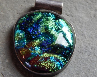 Dichroic Pendant with Blues and Greens and Sterling Silver Bezel