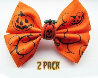 2 Pack Pumpkin Hair Bow - Orange Hair Clip - Halloween Hair Clip - Mini Girls Hairbow - Grosgrain Ribbon Hair Accessory