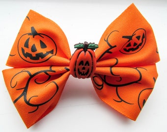 Pumpkin Hair Bow - Orange Hair Clip - Halloween Hair Clip - Mini Girls Hairbow - Grosgrain Ribbon Hair Accessory