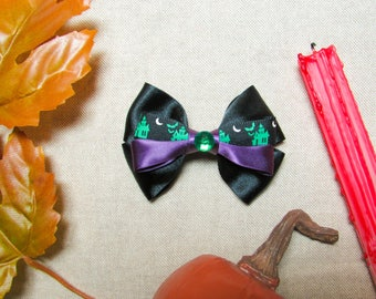 Haunted House Hair Bow - Black Green Purple Hair Clip - Halloween Hair Clip - Mini Girls Hairbow - Satin Ribbon Hair Accessory