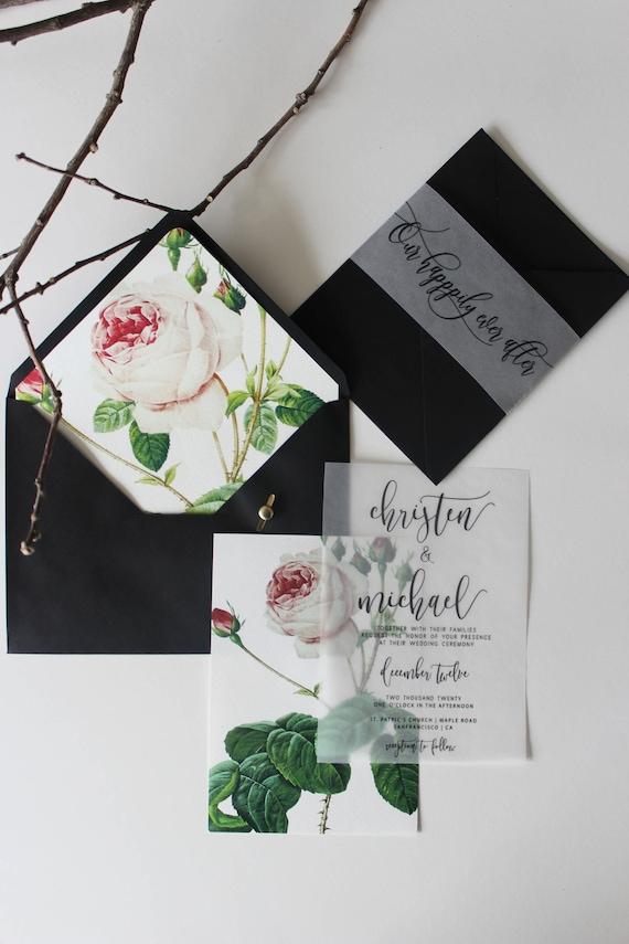Vellum overlay wedding Invitation Botanical green leafy floral