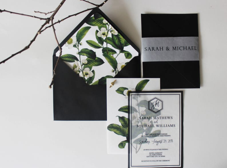 Vellum Overlay Wedding Invitation Botanical Green Leafy Floral Translucent Invite Boho Chic Vintage Flower Suite Bohemian Black Modern