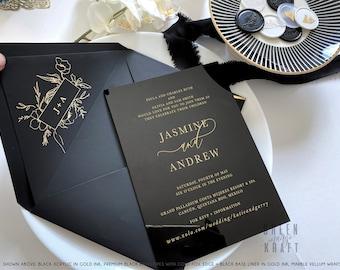 BLACK Acrylic Modern WEDDING INVITATION luxury Minimal calligraphy invite plexiglass customized black tie clear bat bar mitzvah gold lucite