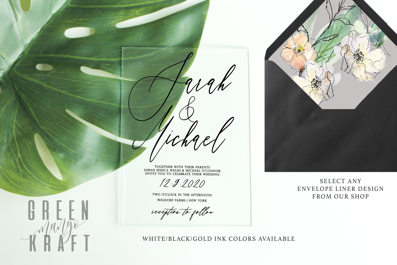 Clear Acrylic WEDDING INVITATIONS plexiglass black white gold   Etsy