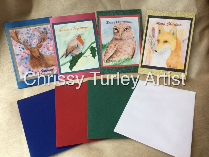 Christmas Cards  Robin / Satg / Owl / Fox with Envelopes image 0