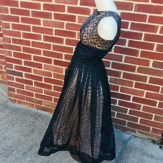 tulip print glitter glam party dress, vintage sz 2 - image 7