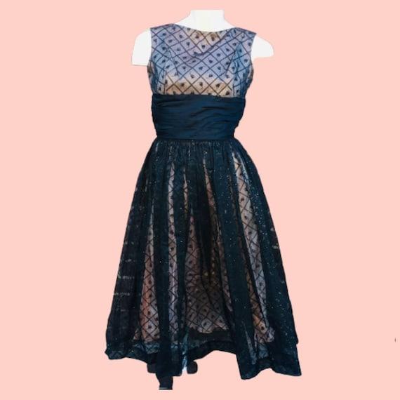 tulip print glitter glam party dress, vintage sz 2 - image 1