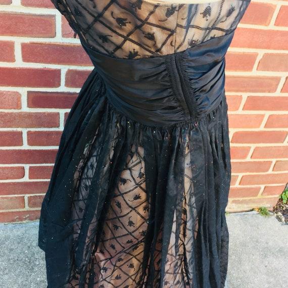 tulip print glitter glam party dress, vintage sz 2 - image 6
