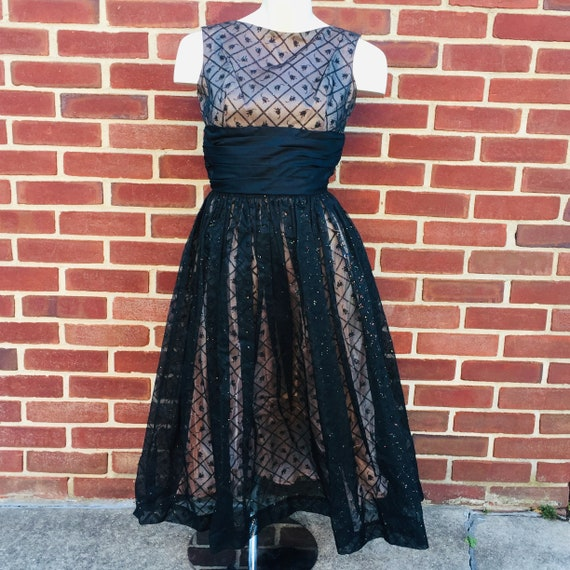 tulip print glitter glam party dress, vintage sz 2 - image 2