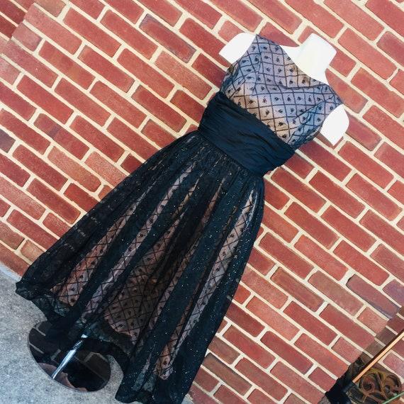 tulip print glitter glam party dress, vintage sz 2 - image 3
