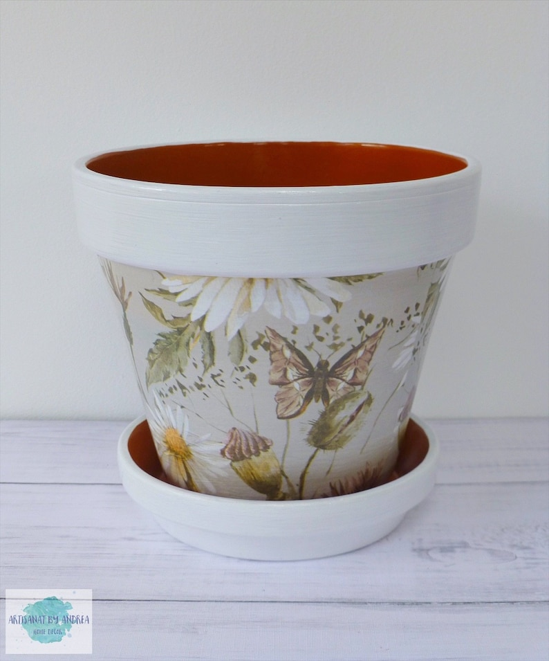 Decorated Terracotta Plant Pot Floral Decoupage Decorated Etsy
