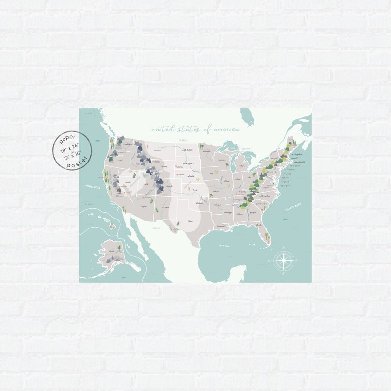 Illustrated US Map | Homeschool Clroom Decor | Map of the United States on us topographic map united states, labeled physical map of united states, map of major bodies of water in the united states,