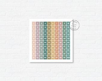 Hundreds Chart for Homeschool   Pretty Modern Math Chart   Homeschool Counting Poster   Kindergarten Wall Art