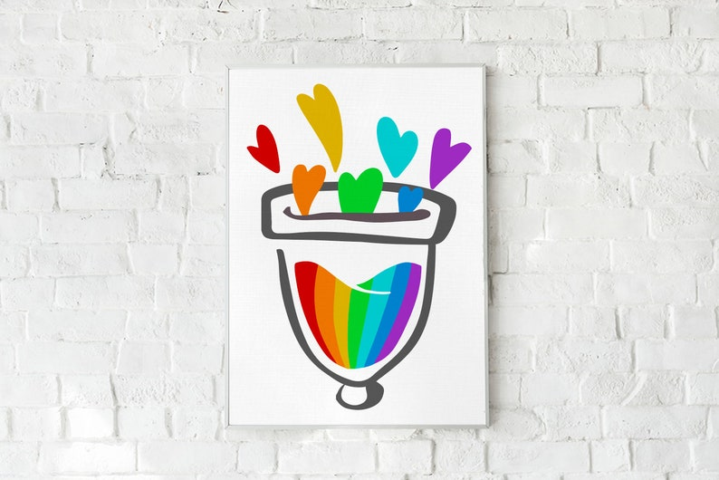 Rainbow Menstrual Cup Love Wall Art Digital Download Period image 0
