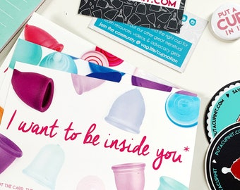 Put A Cup In It Menstrual Cup Advocacy Kit, Stickers, Information Cards, Button