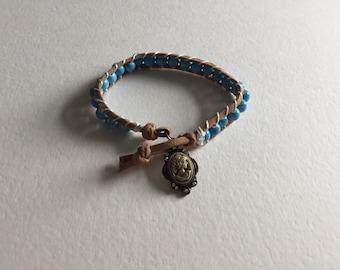 Blue cameo bracelet